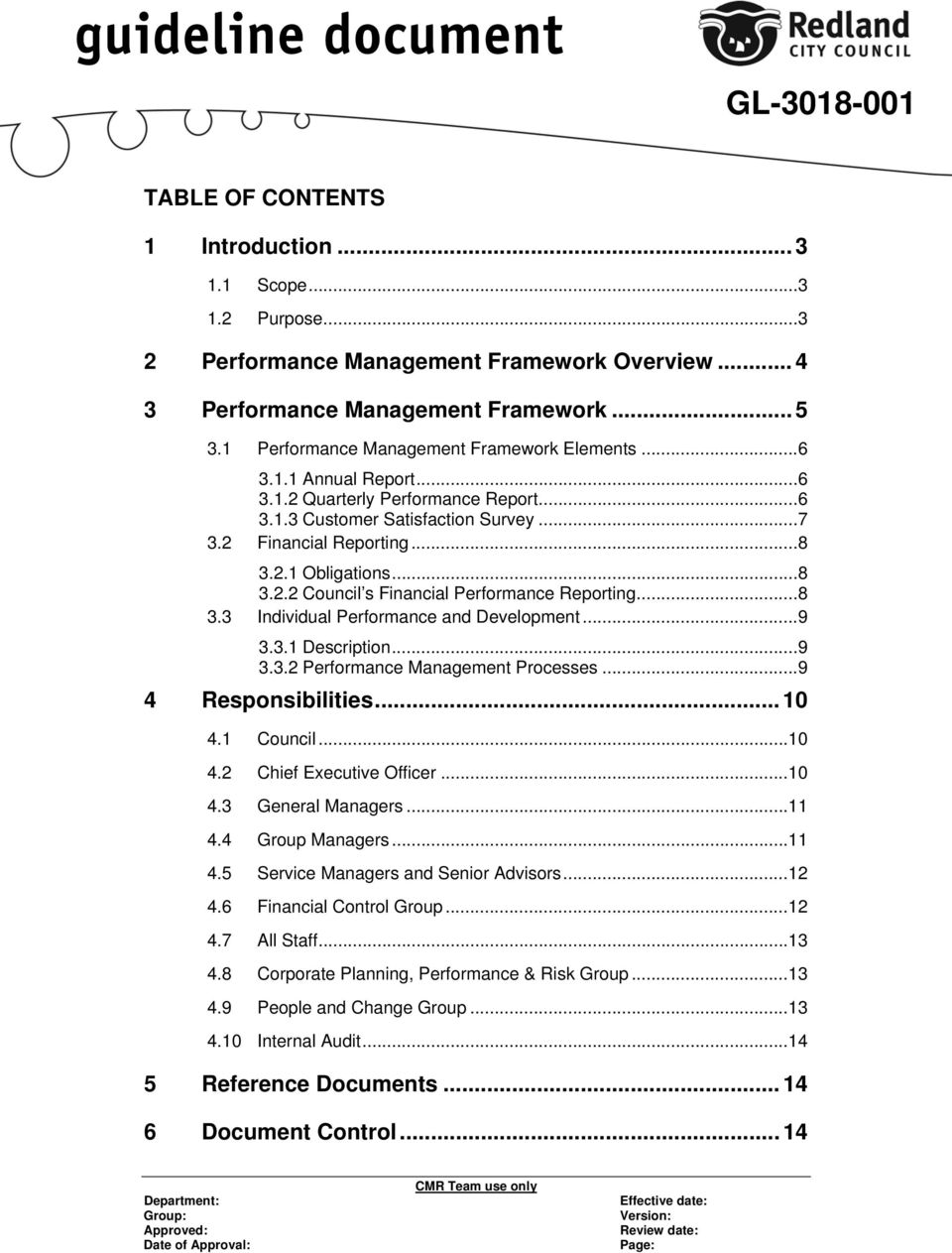 .. 8 3.2.2 Council s Financial Performance Reporting... 8 3.3 Individual Performance and Development... 9 3.3.1 Description... 9 3.3.2 Performance Management Processes... 9 4 Responsibilities... 10 4.