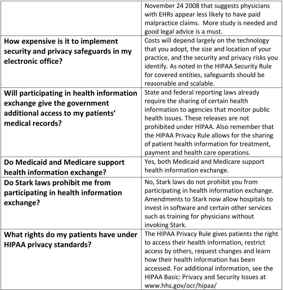 Do Stark laws prohibit me from participating in health information exchange? What rights do my patients have under HIPAA privacy standards?