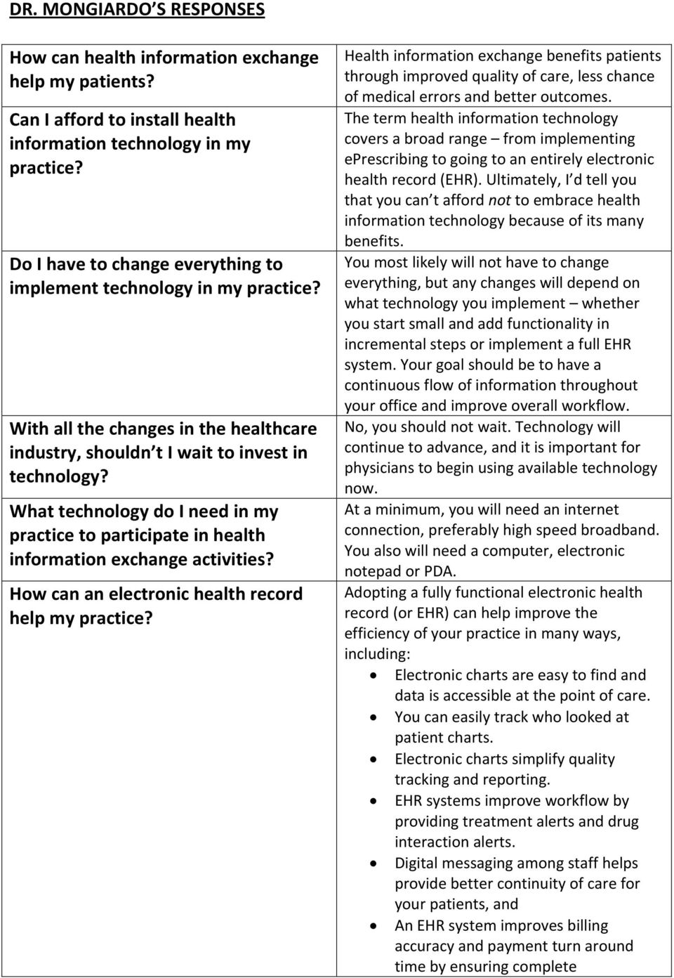 What technology do I need in my practice to participate in health information exchange activities? How can an electronic health record help my practice?