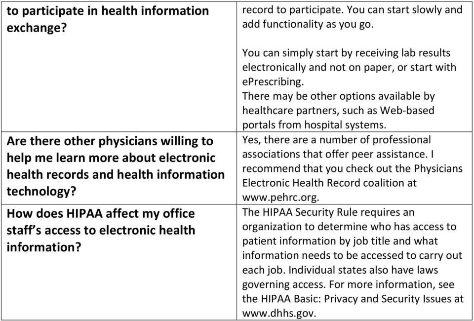 You can simply start by receiving lab results electronically and not on paper, or start with eprescribing.