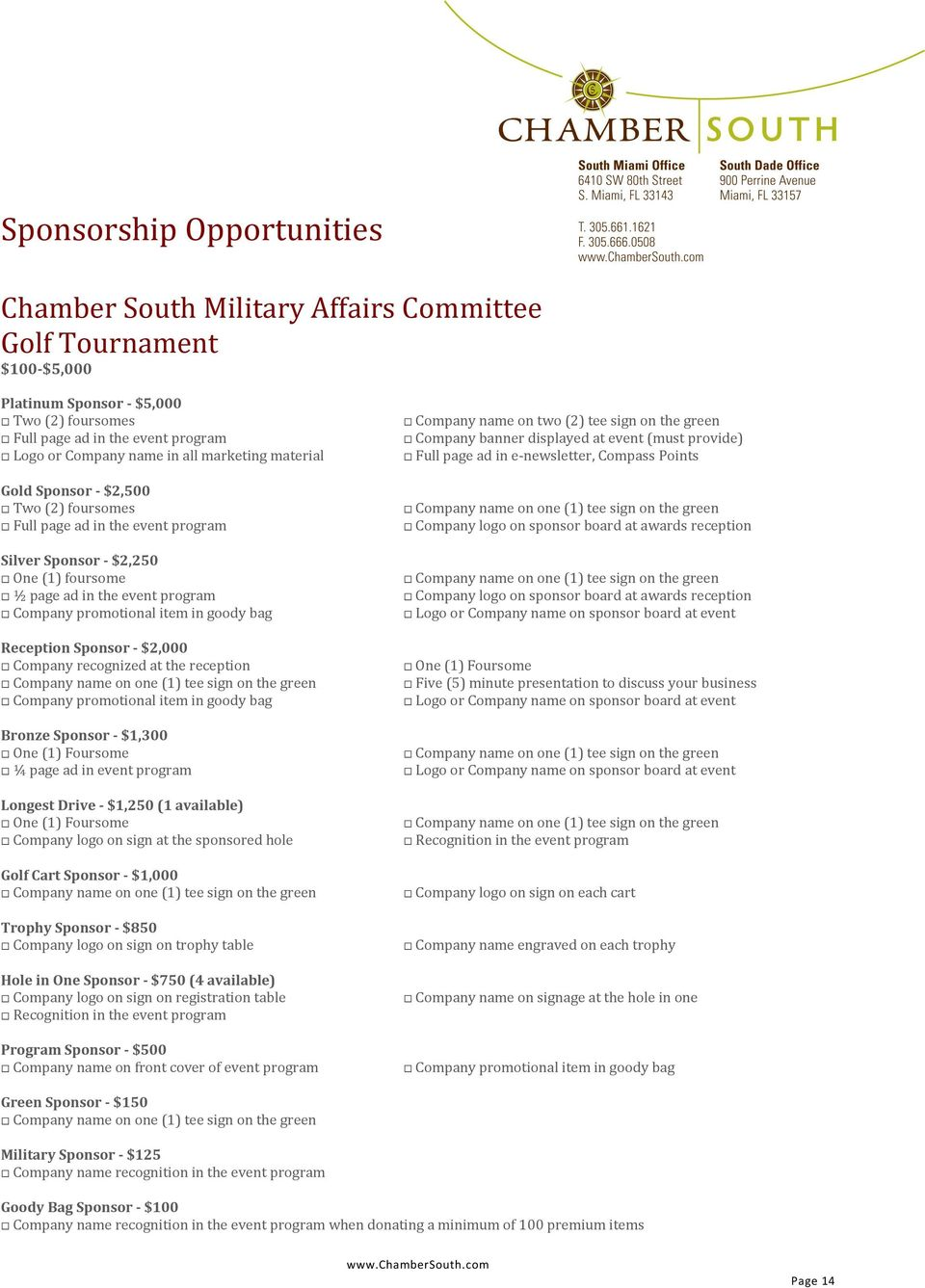 $2,000 Company recognized at the reception Company promotional item in goody bag Bronze Sponsor - $1,300 One (1) Foursome ¼ page ad in event program Longest Drive - $1,250 (1 available) One (1)