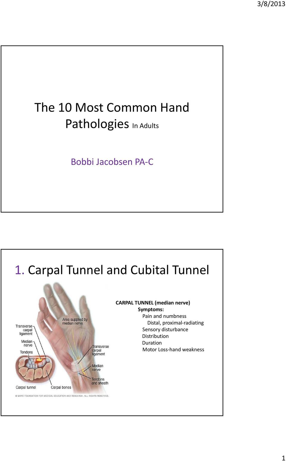 Carpal Tunnel and Cubital Tunnel CARPAL TUNNEL (median nerve)