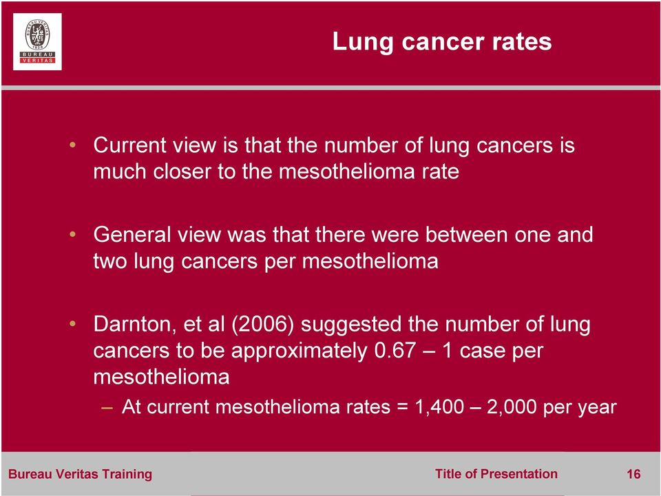 mesothelioma Darnton, et al (2006) suggested the number of lung cancers to be approximately 0.
