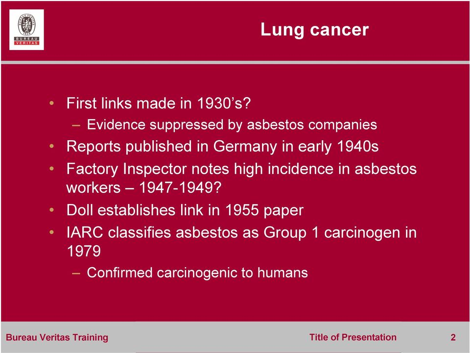 Factory Inspector notes high incidence in asbestos workers 1947-1949?