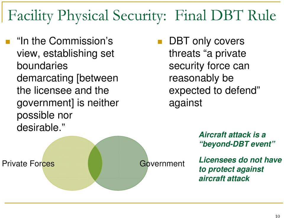 DBT only covers threats a private security force can reasonably be expected to defend against