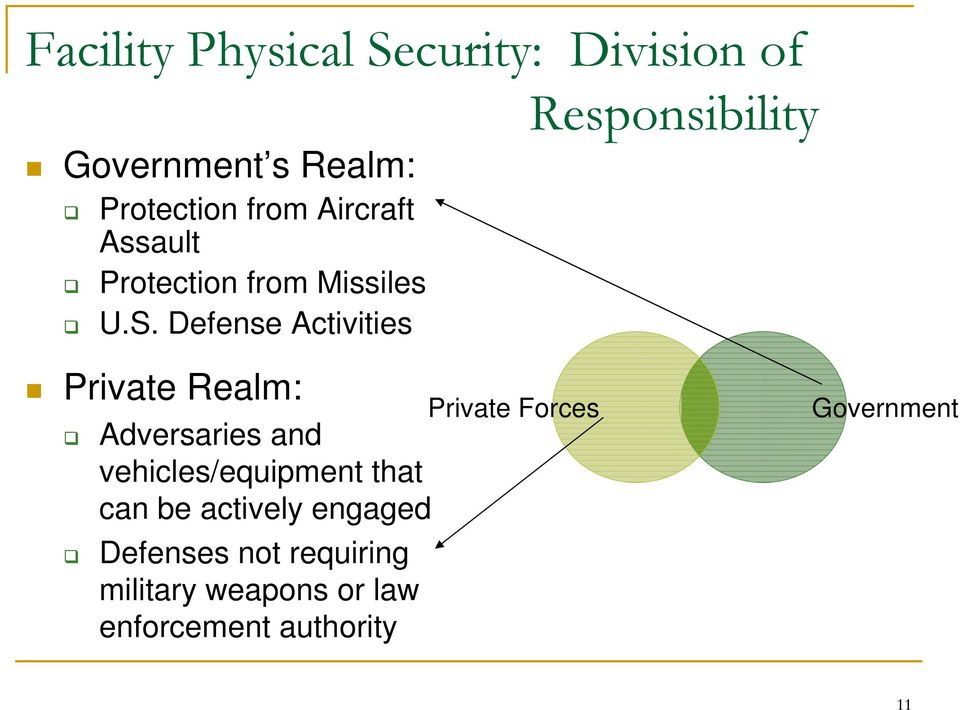 Defense Activities Responsibility Private Realm: Adversaries and vehicles/equipment
