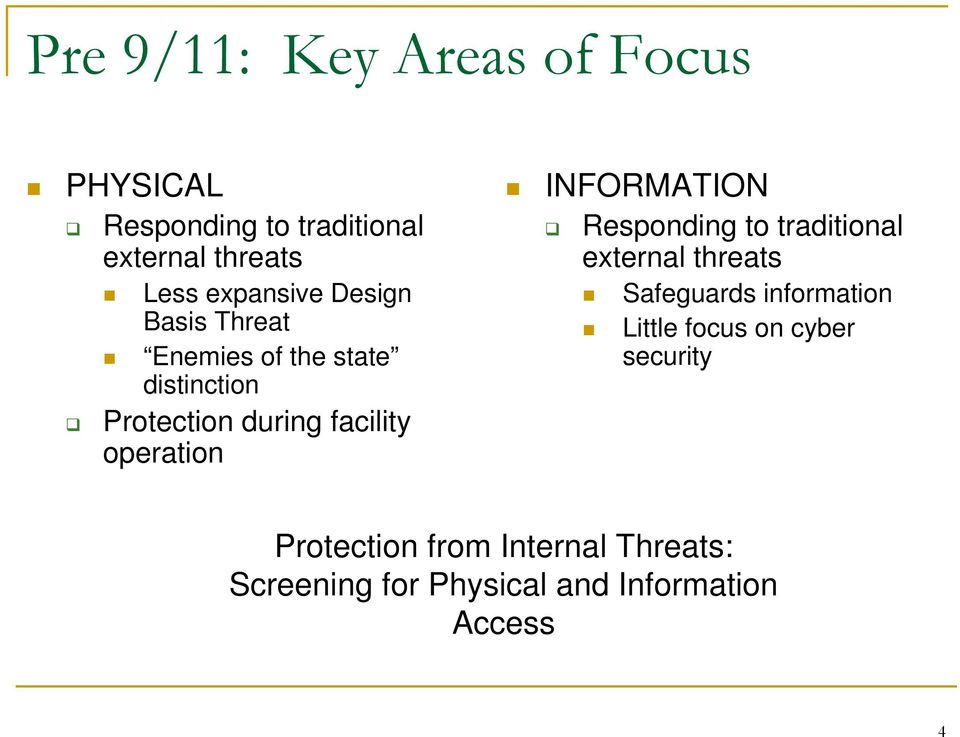 operation INFORMATION Responding to traditional external threats Safeguards information