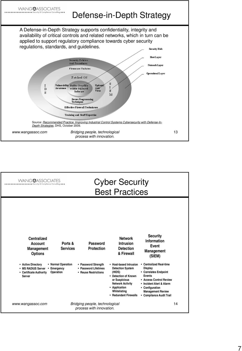 Source: Recommended Practice: Improving Industrial Control Systems Cybersecurity with Defense-In- Depth Strategies, DHS, October 2009.