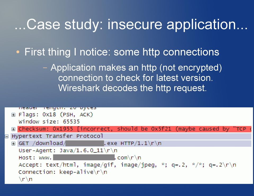 Application makes an http (not encrypted)
