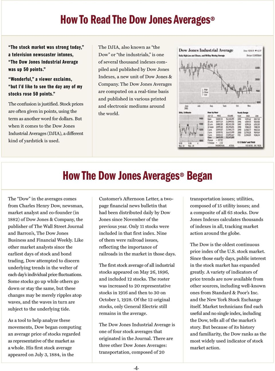 Stock prices are often given in points, using the term as another word for dollars. But when it comes to the Dow Jones Industrial Averages (DJIA), a different kind of yardstick is used.