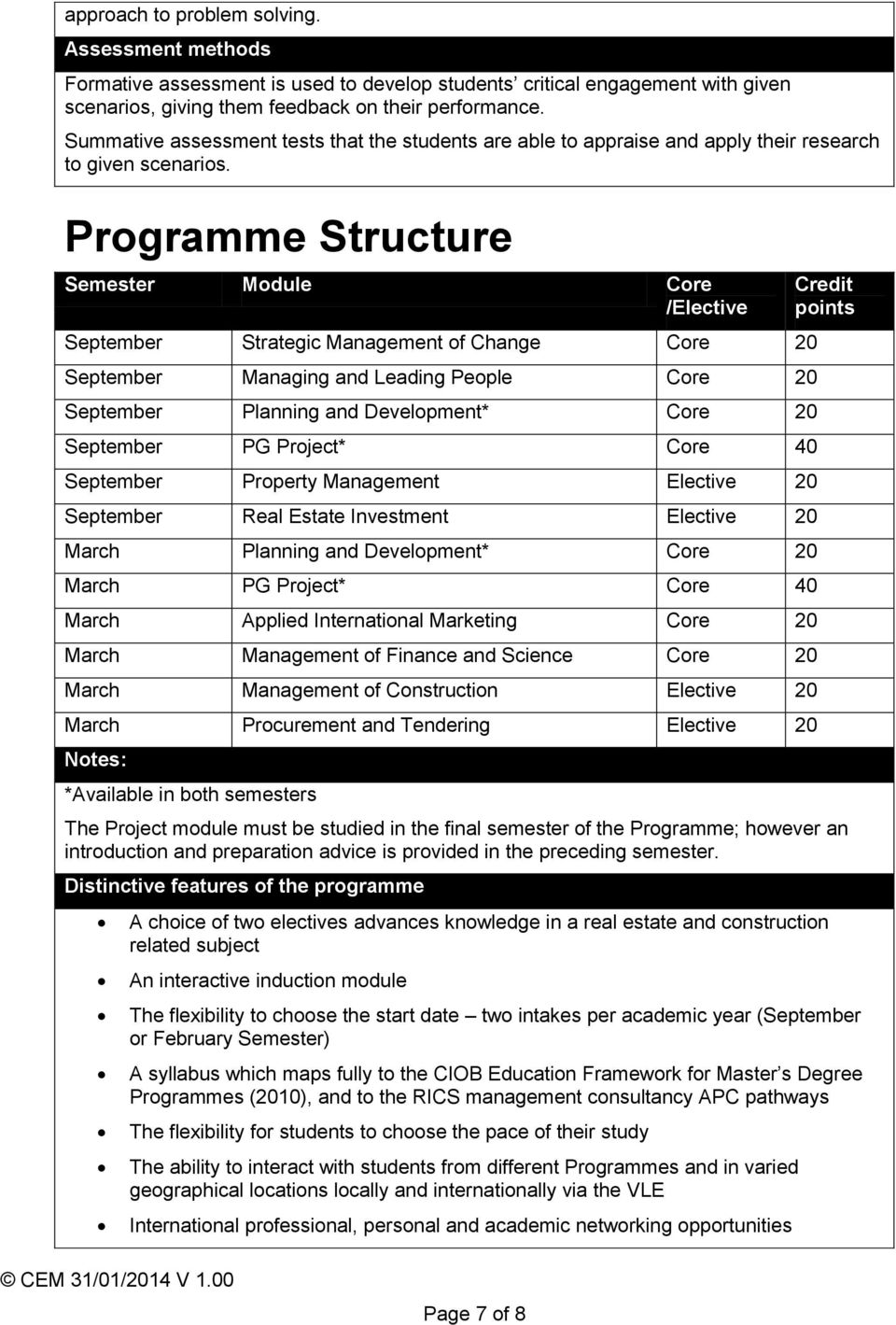 Programme Structure Semester Module Core /Elective September Strategic Management of Change Core 20 September Managing and Leading People Core 20 September Planning and Development* Core 20 September