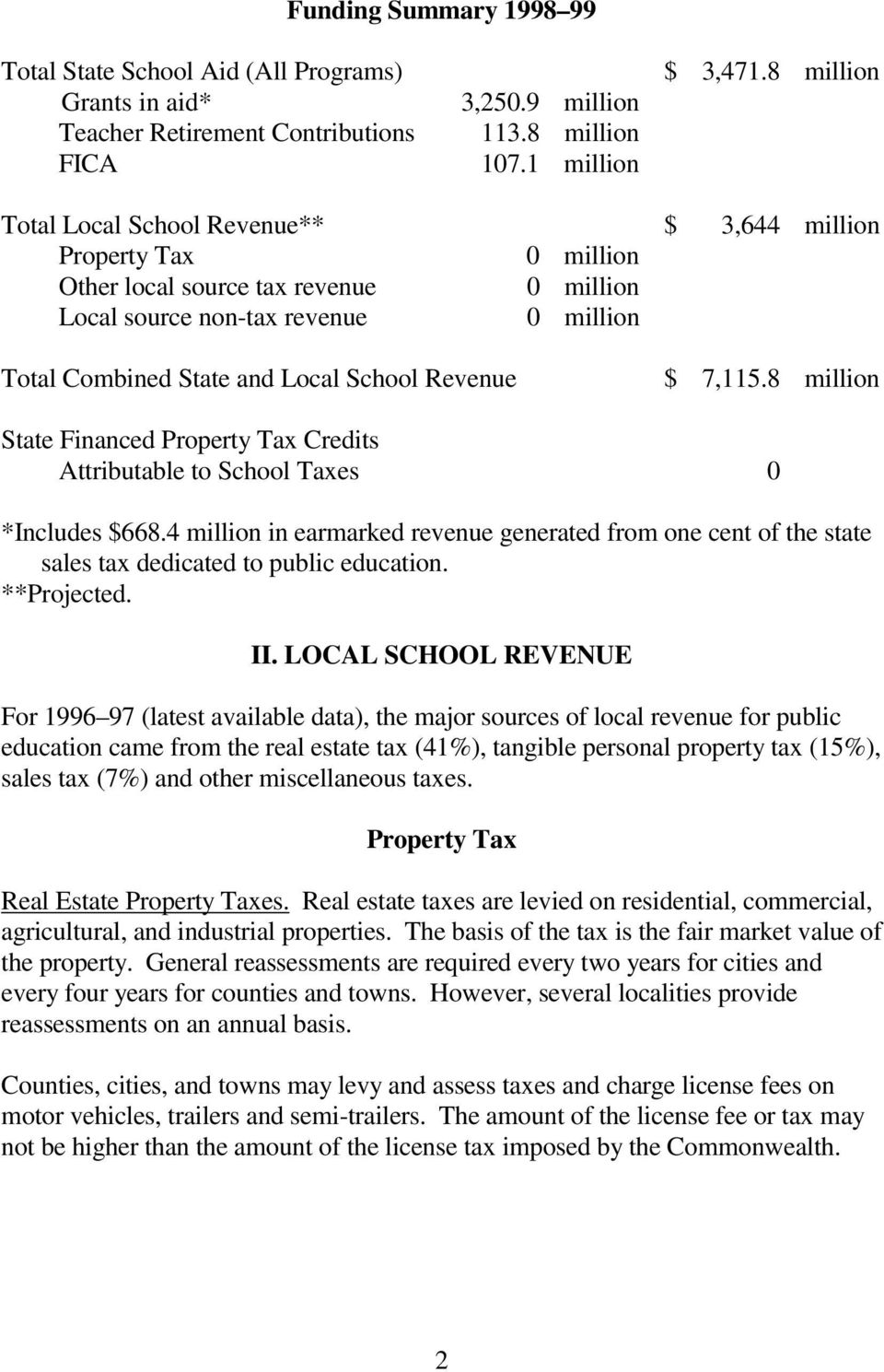 Revenue $ 7,115.8 million State Financed Property Tax Credits Attributable to School Taxes 0 *Includes $668.