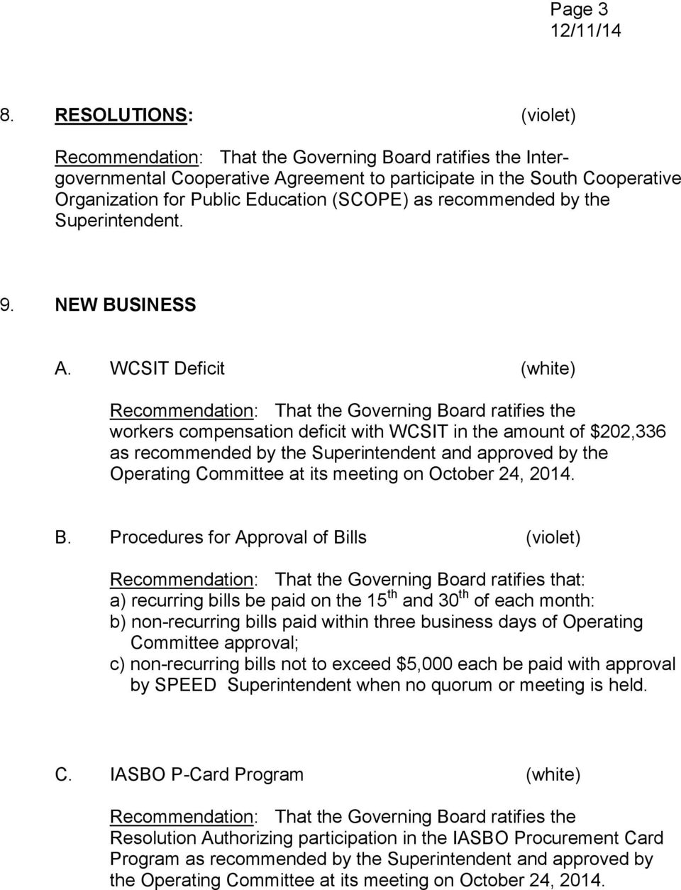 WCSIT Deficit (white) workers compensation deficit with WCSIT in the amount of $202,336 as recommended by the Superintendent and approved by the Operating Committee at its meeting on October 24, 2014.