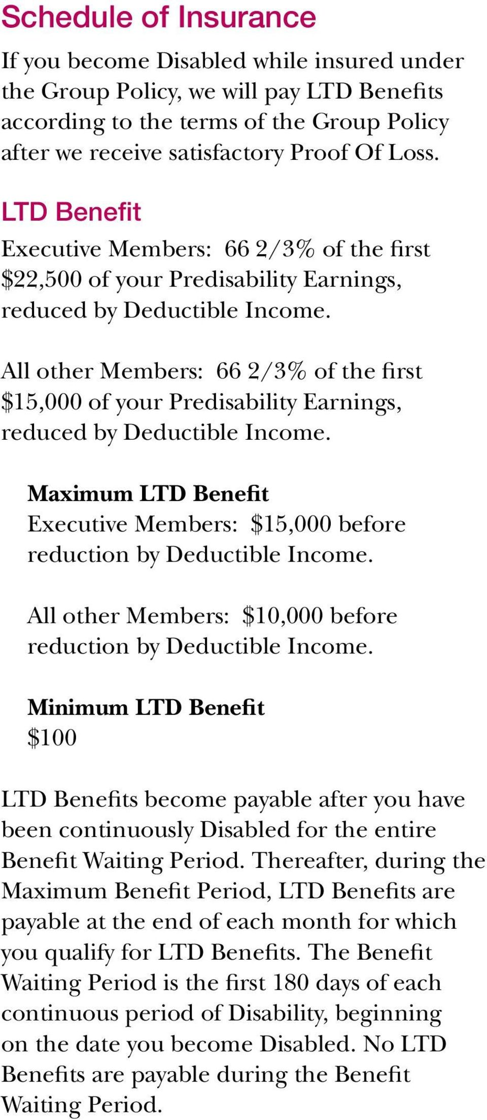 All other Members: 66 2/3% of the first $15,000 of your Predisability Earnings, reduced by Deductible Income. Maximum LTD Benefit Executive Members: $15,000 before reduction by Deductible Income.