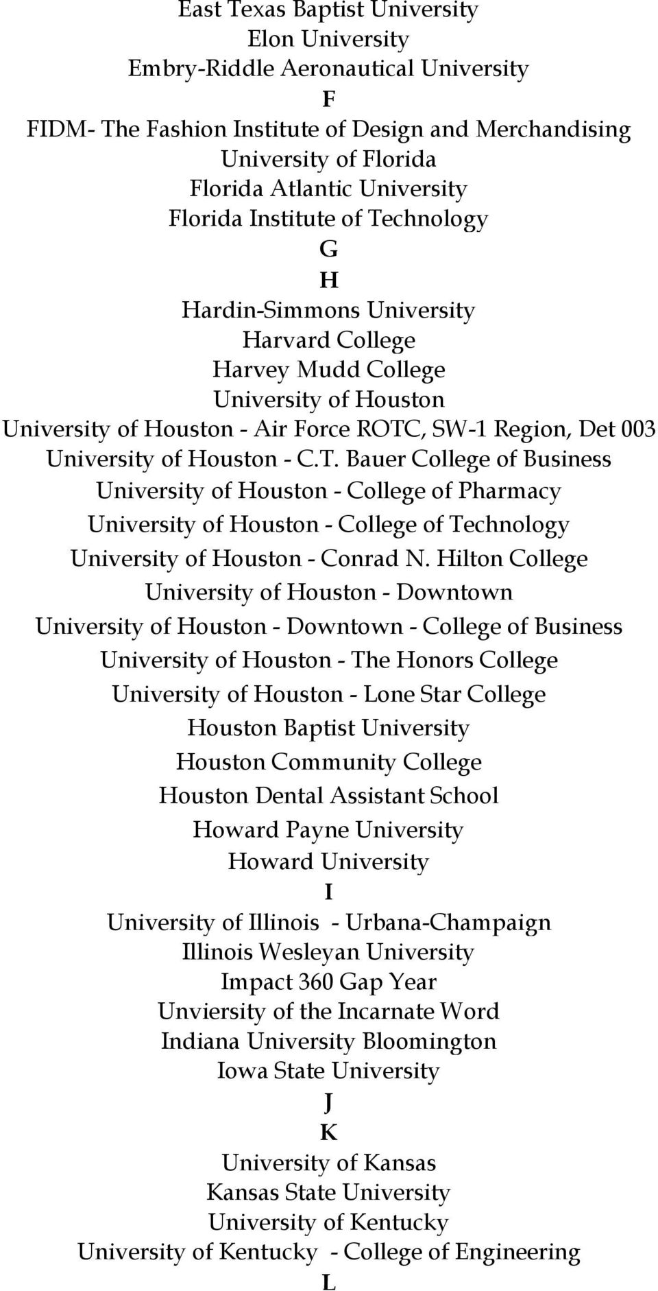 T. Bauer College of Business University of Houston - College of Pharmacy University of Houston - College of Technology University of Houston - Conrad N.