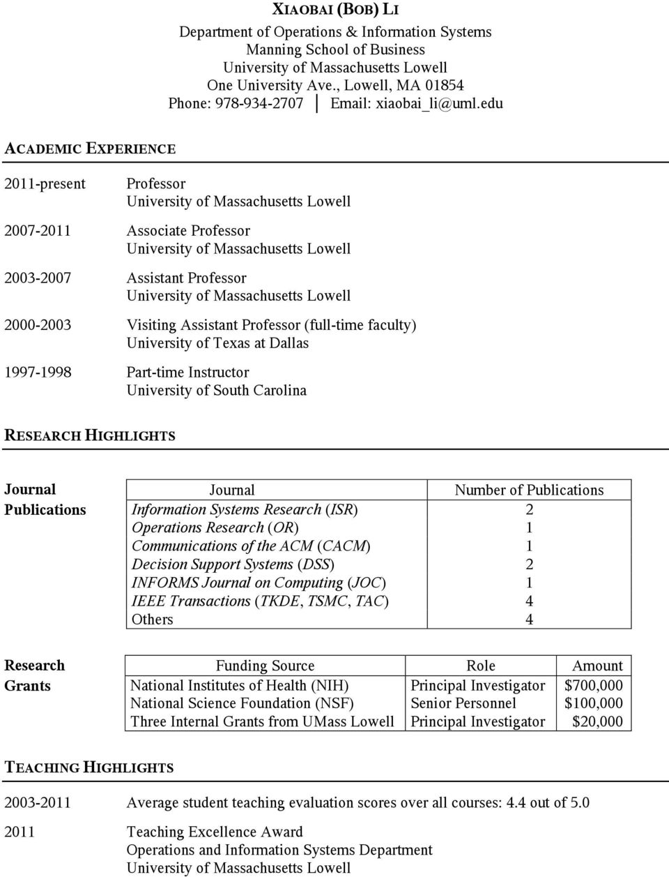 1997-1998 Part-time Instructor University of South Carolina RESEARCH HIGHLIGHTS Journal Journal Number of Publications Publications Information Systems Research (ISR) 2 Operations Research (OR) 1