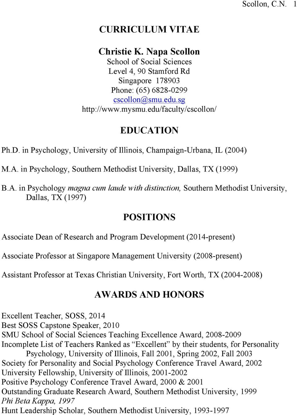 ION Ph.D. in Psychology, University of Illinois, Champaign-Urbana, IL (2004) M.A.