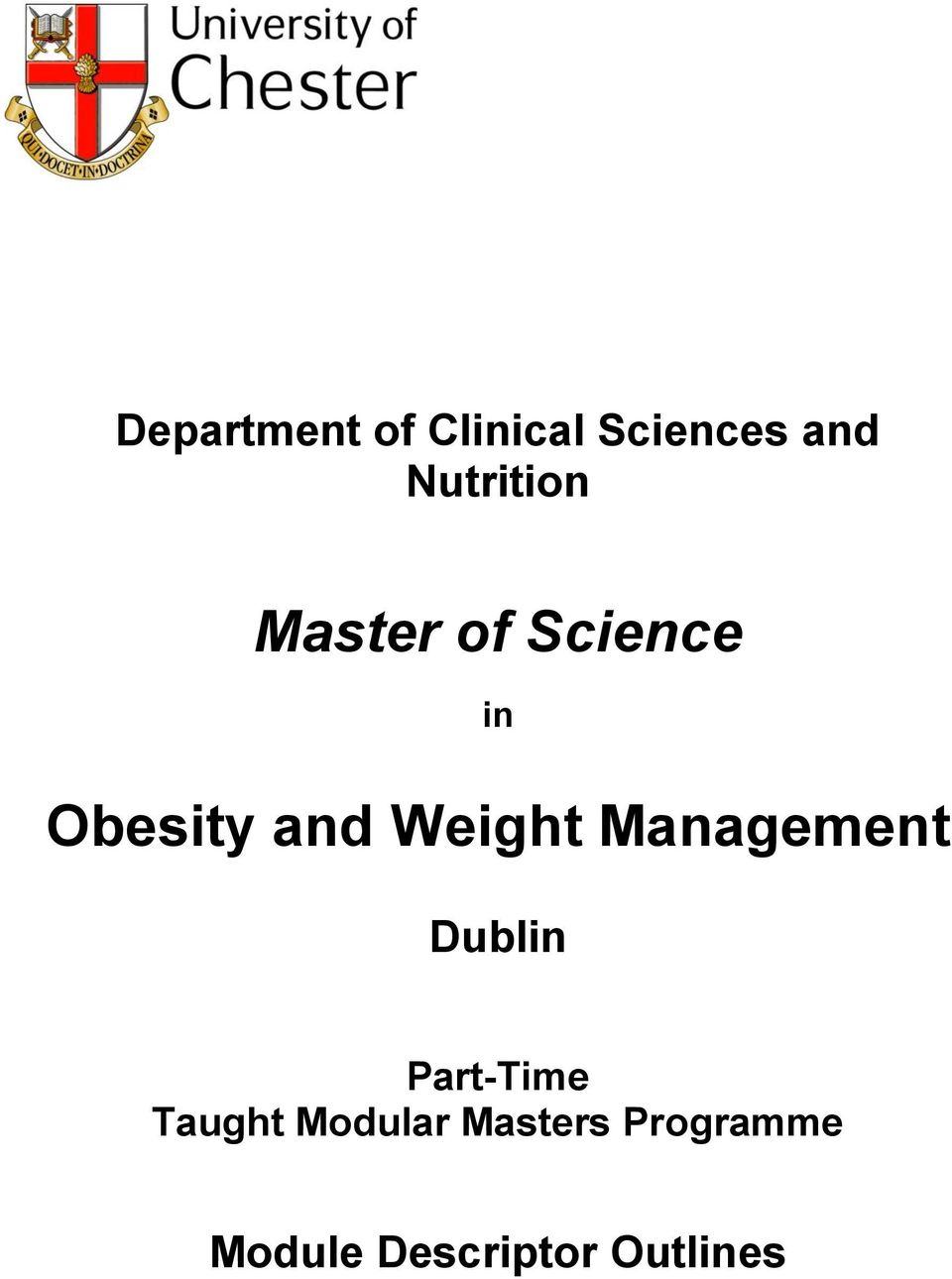 Weight Management Dublin Part-Time Taught