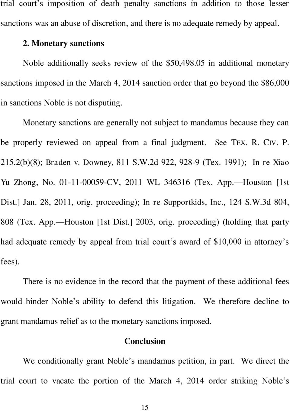 05 in additional monetary sanctions imposed in the March 4, 2014 sanction order that go beyond the $86,000 in sanctions Noble is not disputing.