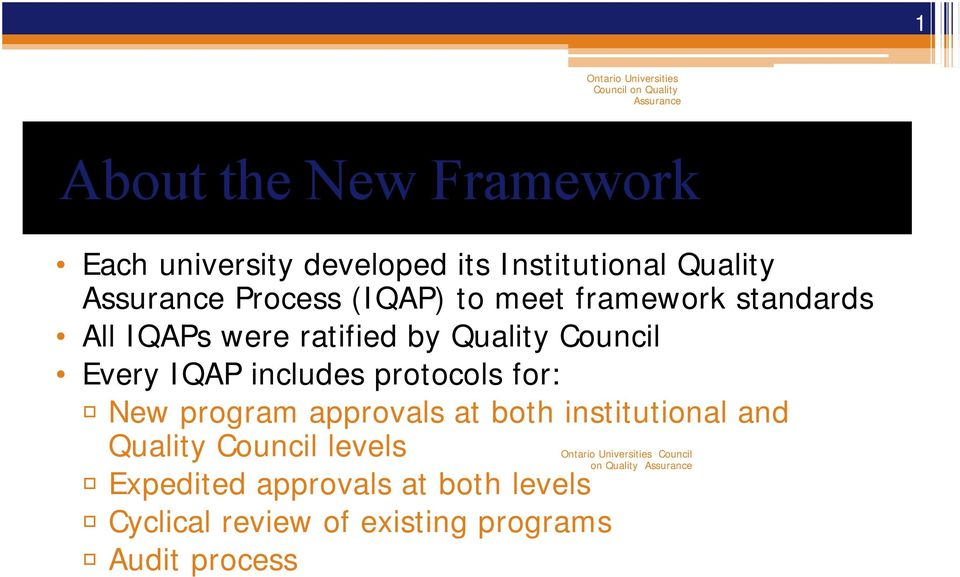 for: R New program approvals at both institutional and Quality Council levels R