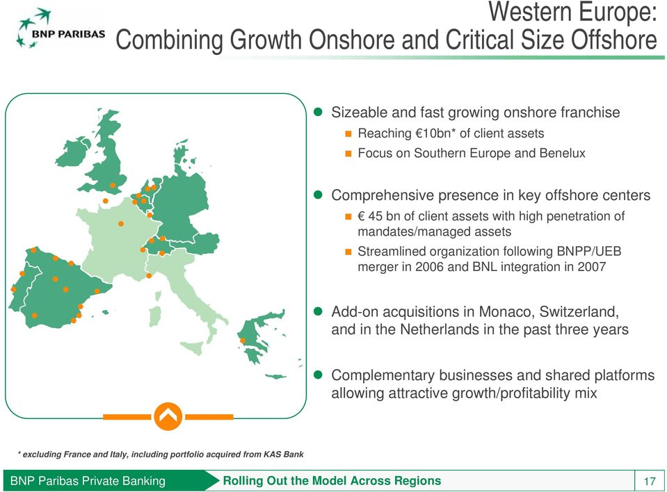 in 2006 and BNL integration in 2007 Add-on acquisitions in Monaco, Switzerland, and in the Netherlands in the past three years Complementary businesses and shared platforms