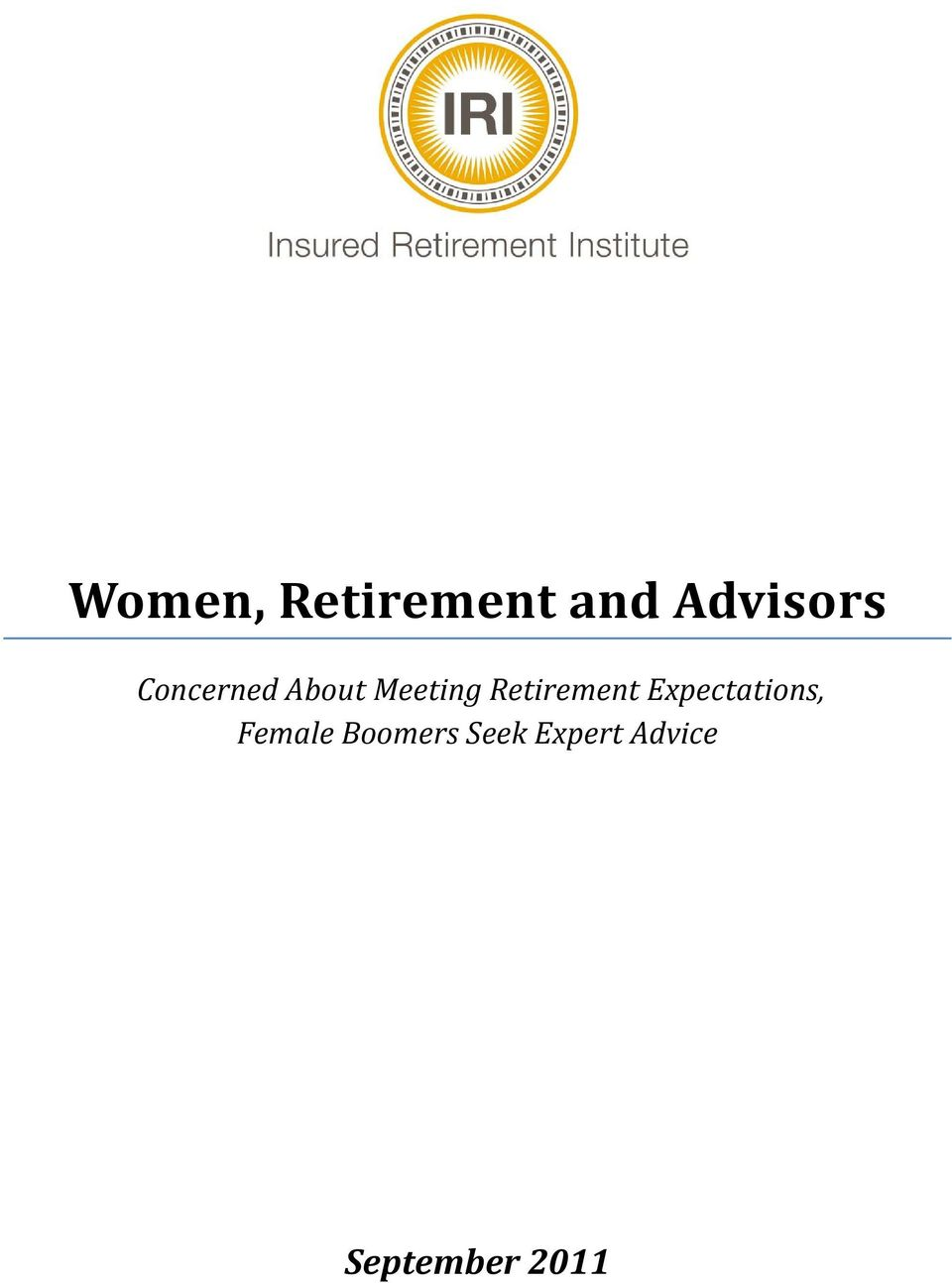 Retirement Expectations, Female