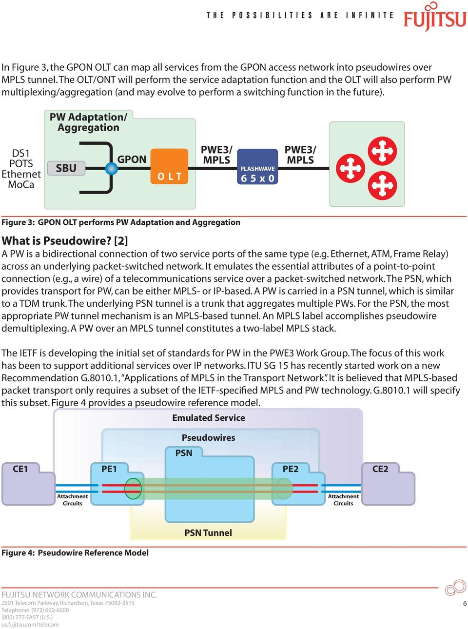 PW Adaptation/ Aggregation DS1 POTS Ethernet MoCa SBU GPON O L T PWE3/ FLASHWAVE 6 5 x 0 PWE3/ Figure 3: GPON OLT performs PW Adaptation and Aggregation What is Pseudowire?