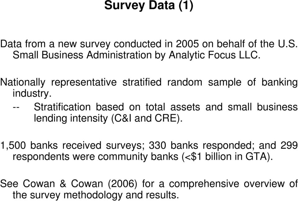 -- Stratification based on total assets and small business lending intensity (C&I and CRE).