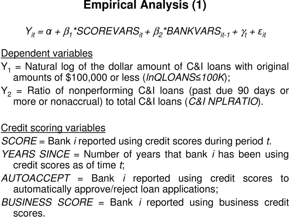 NPLRATIO). Credit scoring variables SCORE = Bank i reported using credit scores during period t.