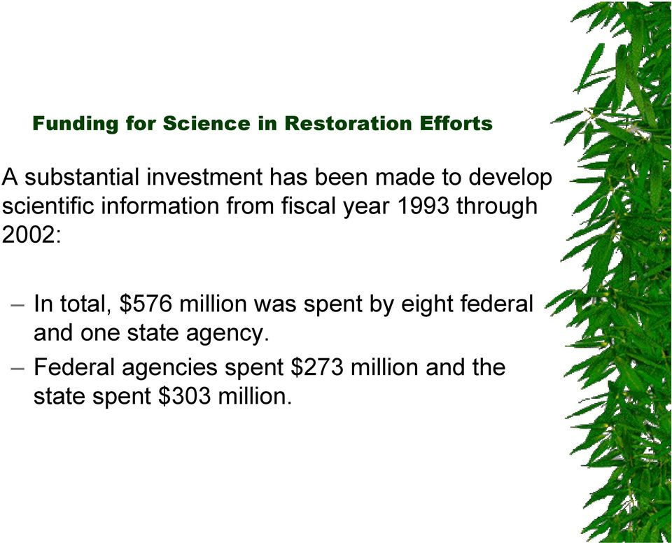 2002: In total, $576 million was spent by eight federal and one state