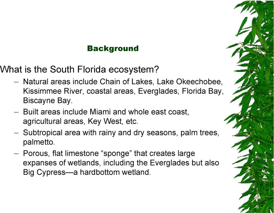 Biscayne Bay. Built areas include Miami and whole east coast, agricultural areas, Key West, etc.