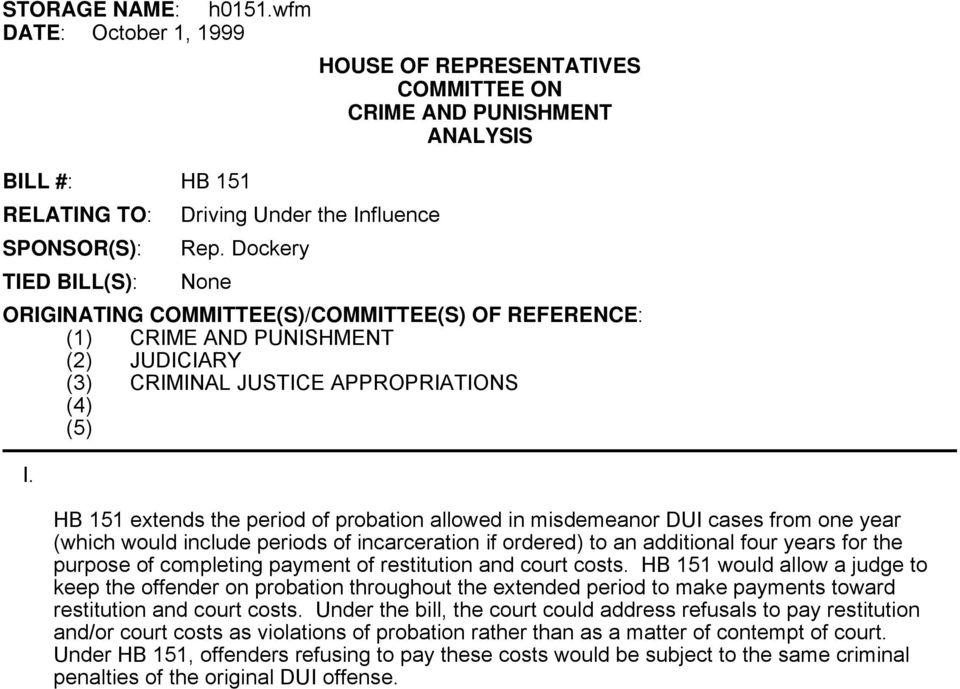 HB 151 extends the period of probation allowed in misdemeanor DUI cases from one year (which would include periods of incarceration if ordered) to an additional four years for the purpose of