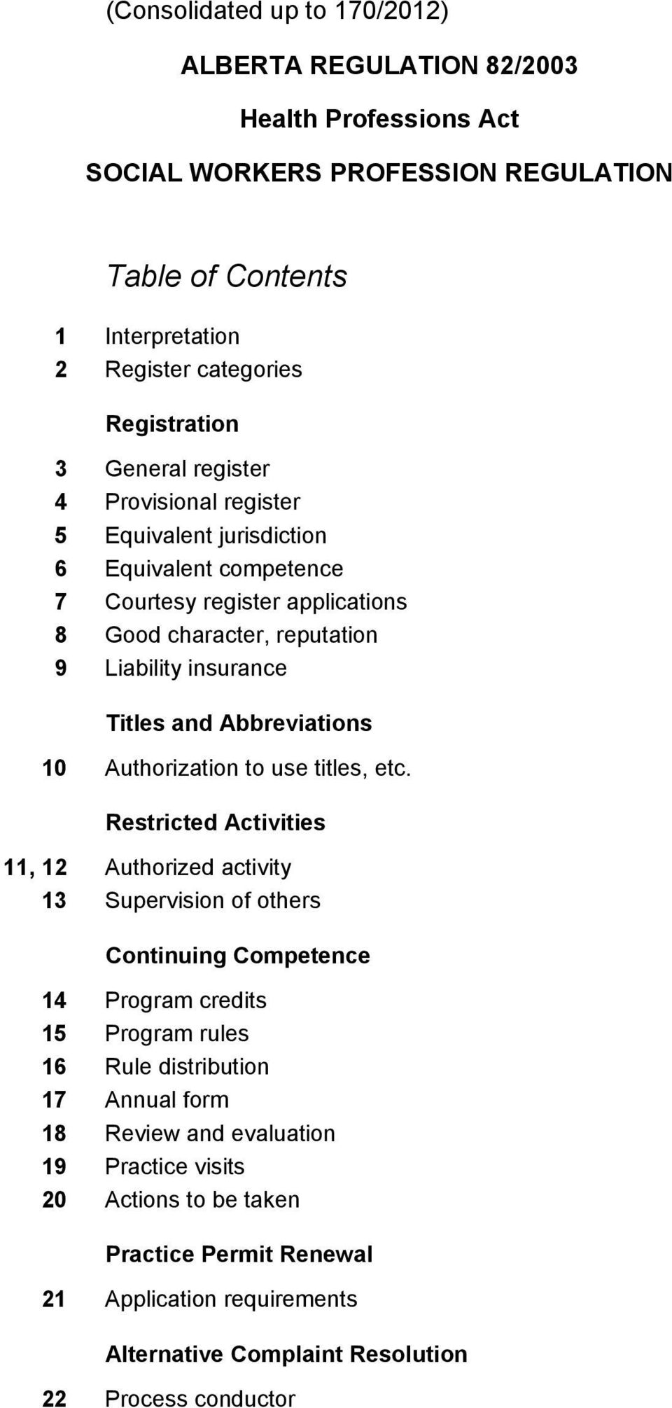 Abbreviations 10 Authorization to use titles, etc.