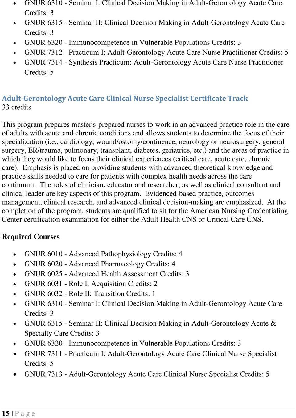 Nurse Practitioner Credits: 5 Adult-Gerontology Acute Care Clinical Nurse Specialist Certificate Track 33 credits This program prepares master's-prepared nurses to work in an advanced practice role