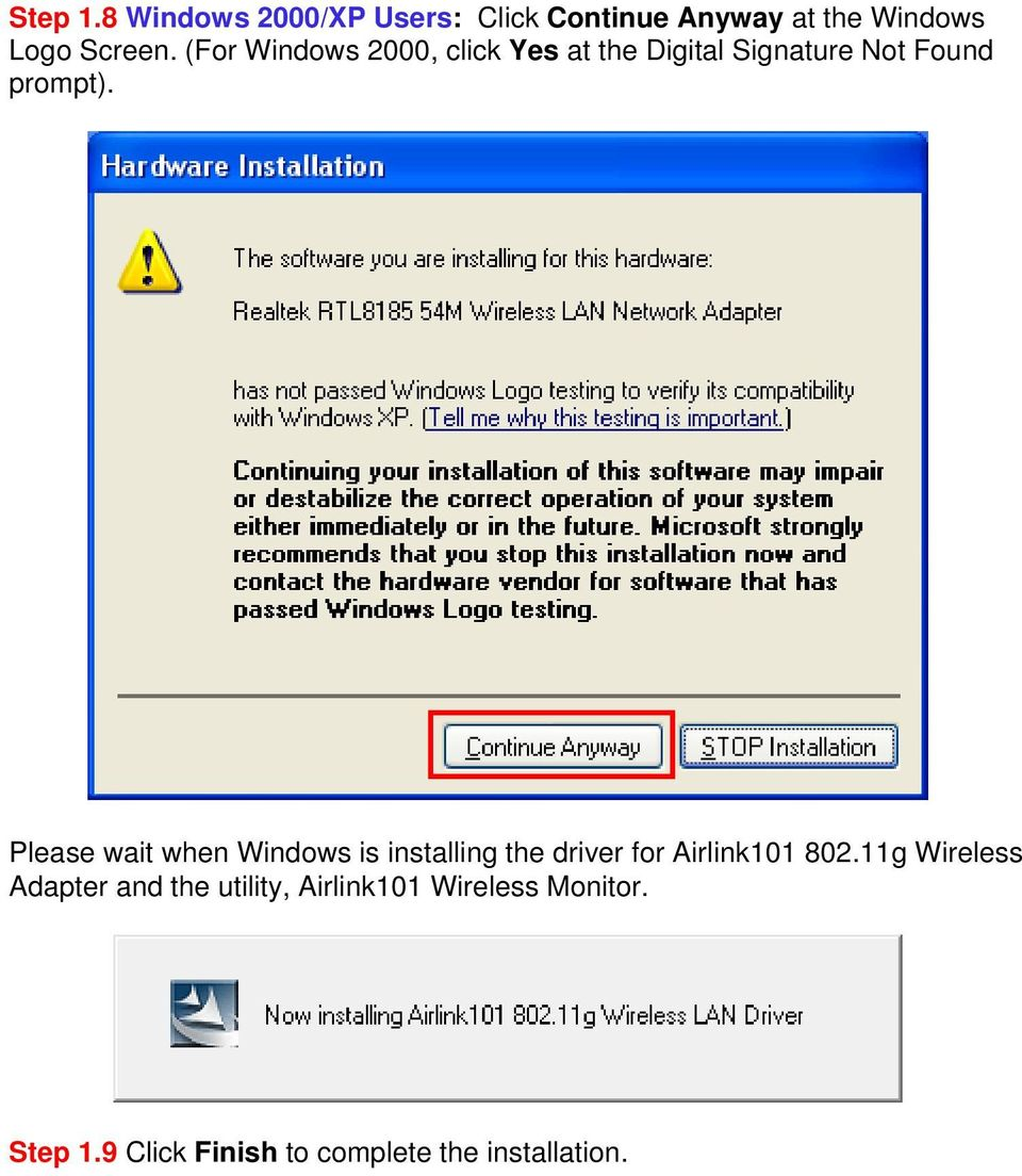 Please wait when Windows is installing the driver for Airlink101 802.