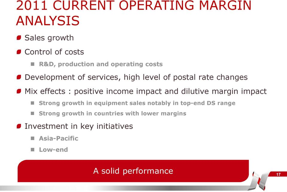 and dilutive margin impact Strong growth in equipment sales notably in top-end DS range Strong growth