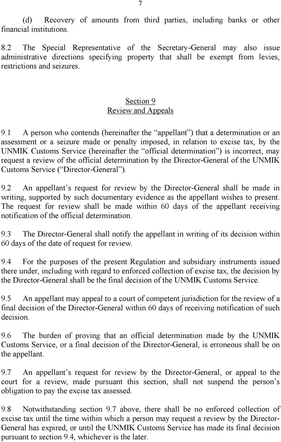 Section 9 Review and Appeals 9.
