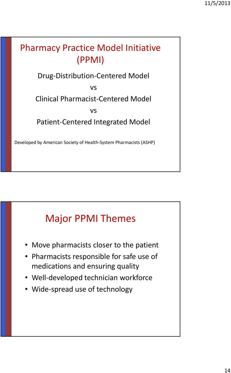 Pharmacists (ASHP) Major PPMI Themes Move pharmacists closer to the patient Pharmacists responsible for