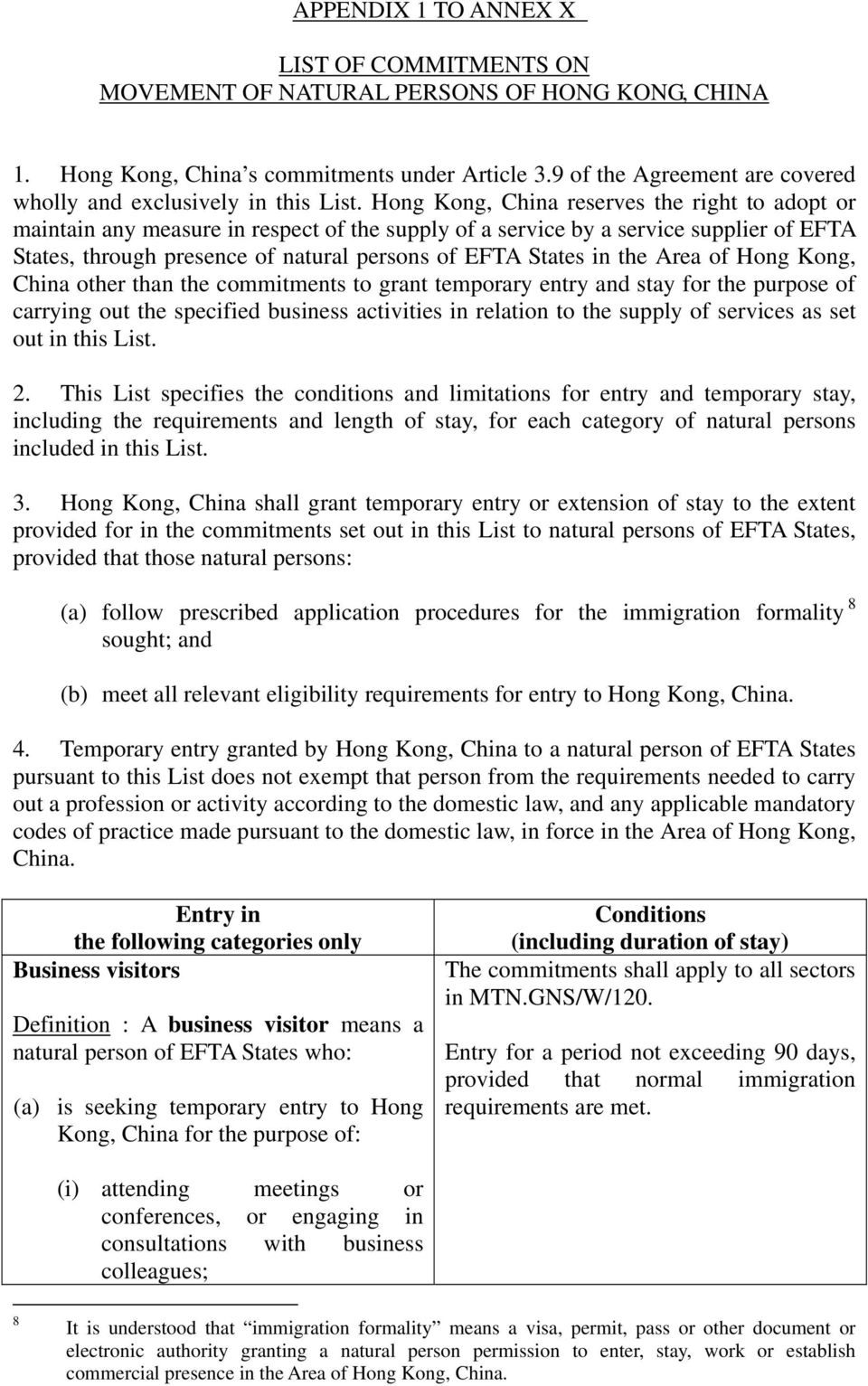 Hong Kong, China reserves the right to adopt or maintain any measure in respect of the supply of a service by a service supplier of EFTA States, through presence of natural persons of EFTA States in