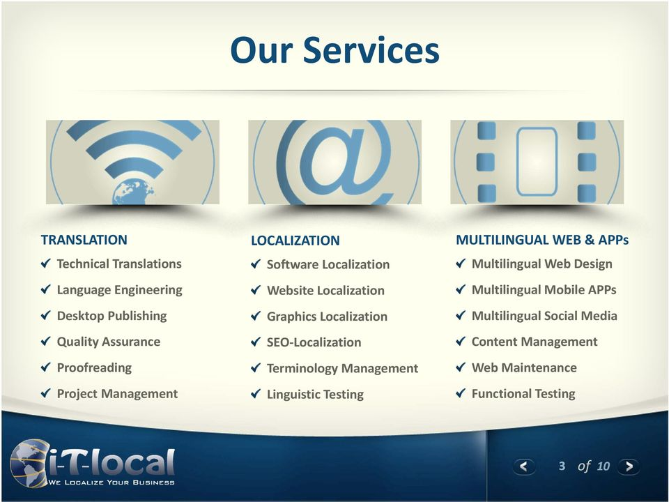 Localization SEO-Localization Terminology Management Linguistic Testing MULTILINGUAL WEB & APPs Multilingual