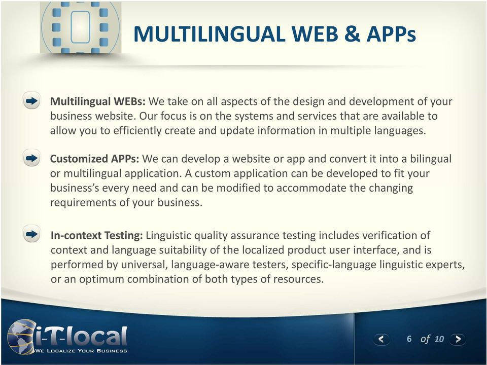 Customized APPs: We can develop a website or app and convert it into a bilingual or multilingual application.