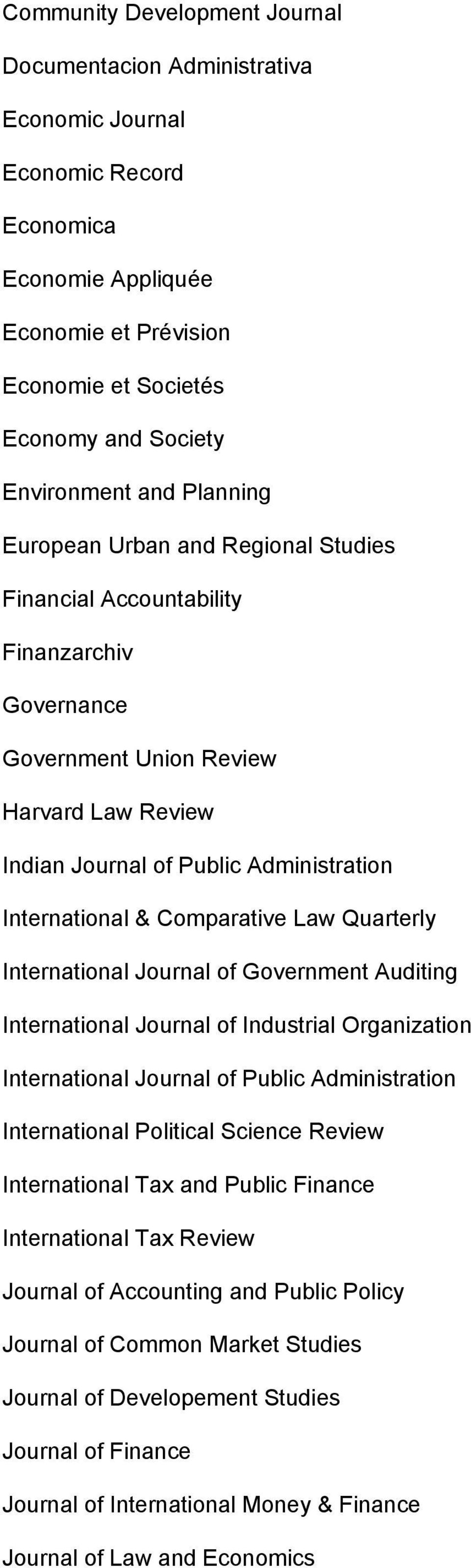 Comparative Law Quarterly International Journal of Government Auditing International Journal of Industrial Organization International Journal of Public Administration International Political Science