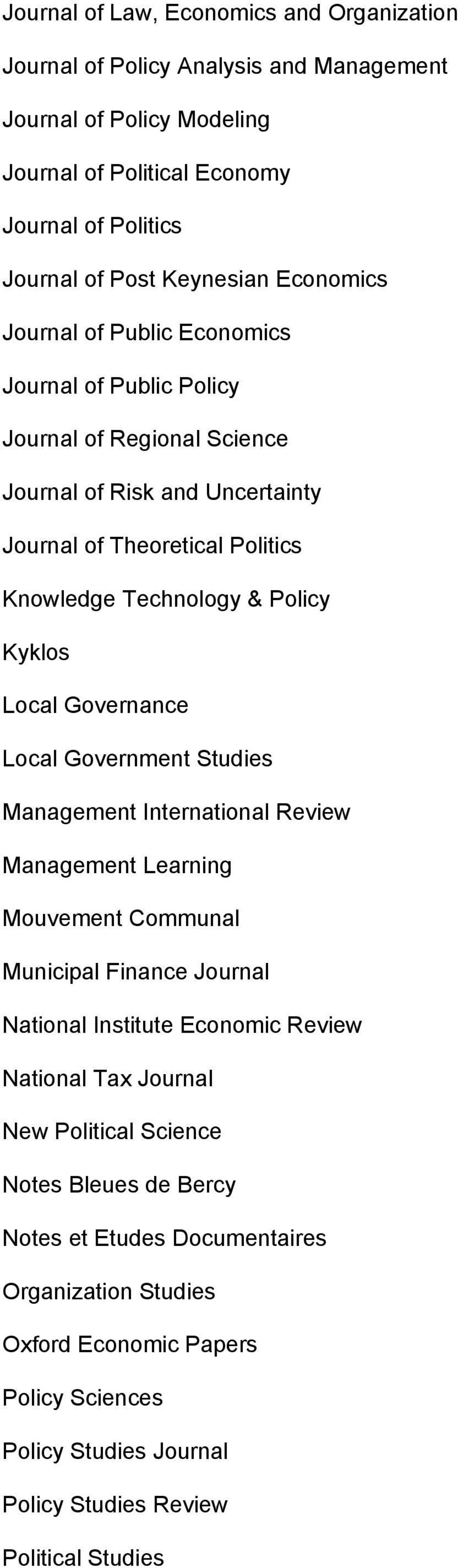 Local Governance Local Government Studies Management International Review Management Learning Mouvement Communal Municipal Finance Journal National Institute Economic Review National Tax