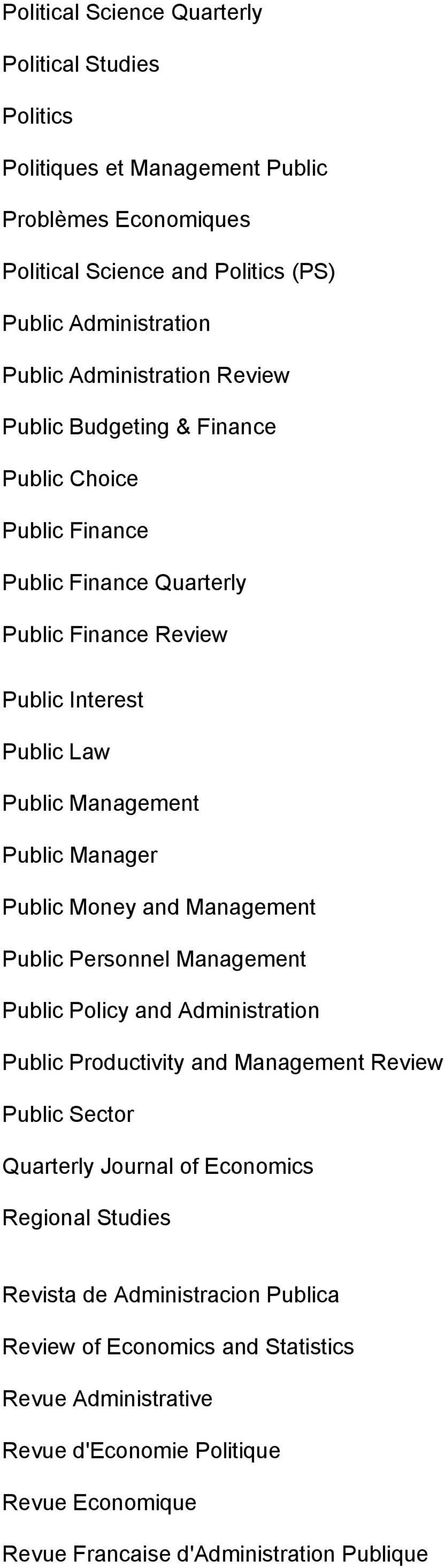 Manager Public Money and Management Public Personnel Management Public Policy and Administration Public Productivity and Management Review Public Sector Quarterly Journal of