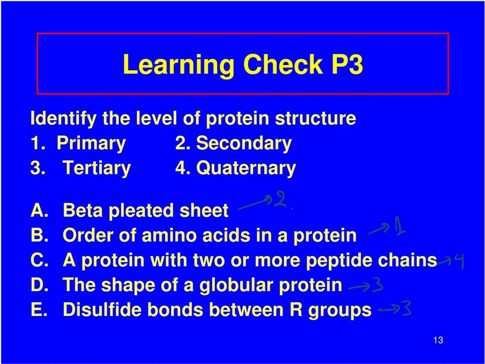 Order of amino acids in a protein C.