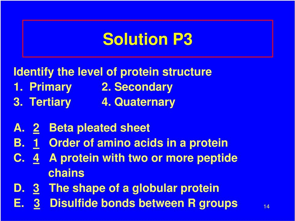 1 Order of amino acids in a protein C.