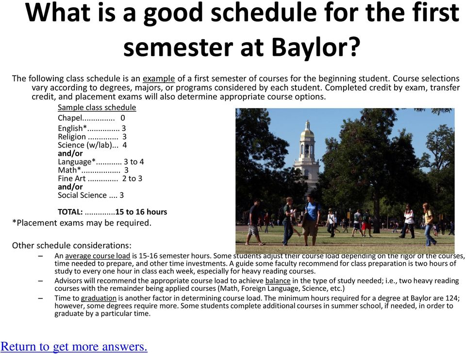 Completed credit by exam, transfer credit, and placement exams will also determine appropriate course options. Sample class schedule Chapel... 0 English*... 3 Religion... 3 Science (w/lab).