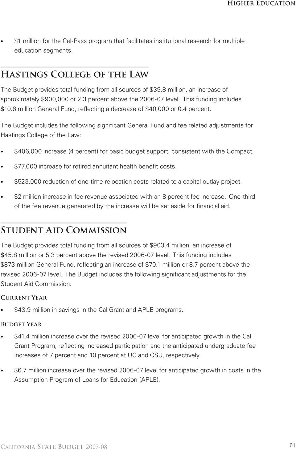 The Budget includes the following significant General Fund and fee related adjustments for Hastings College of the Law: $406,000 increase (4 percent) for basic budget support, consistent with the