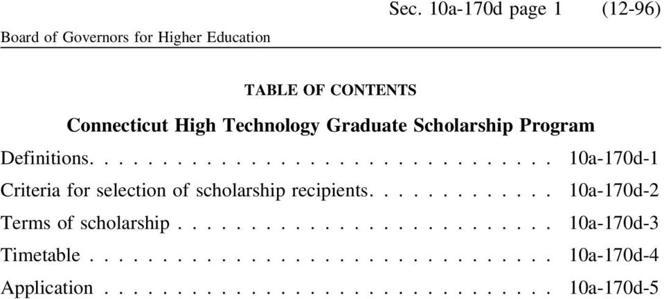 ... 10a-170d-1 Criteria for selection of scholarship recipients.