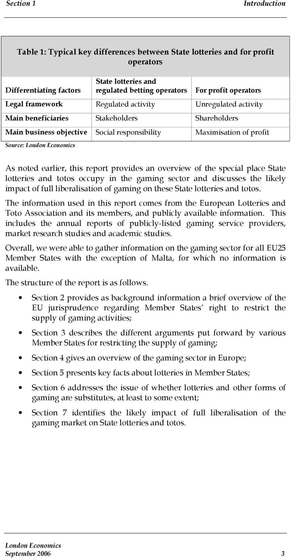 this report provides an overview of the special place State lotteries and totos occupy in the gaming sector and discusses the likely impact of full liberalisation of gaming on these State lotteries